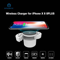 PHONEFIX 10 Port USB Charging Port Fast Wireless Charger for iPhone 8 8Plus X DE EU UK Plug Charger for Mobile Phone Repair Tool