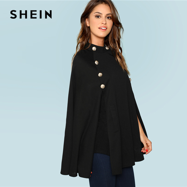 SHEIN Black Highstreet Office Lady Double Button Mock Poncho Solid Elegant Coat 2018 New Autumn Women Workwear Outerwear Clothes 1
