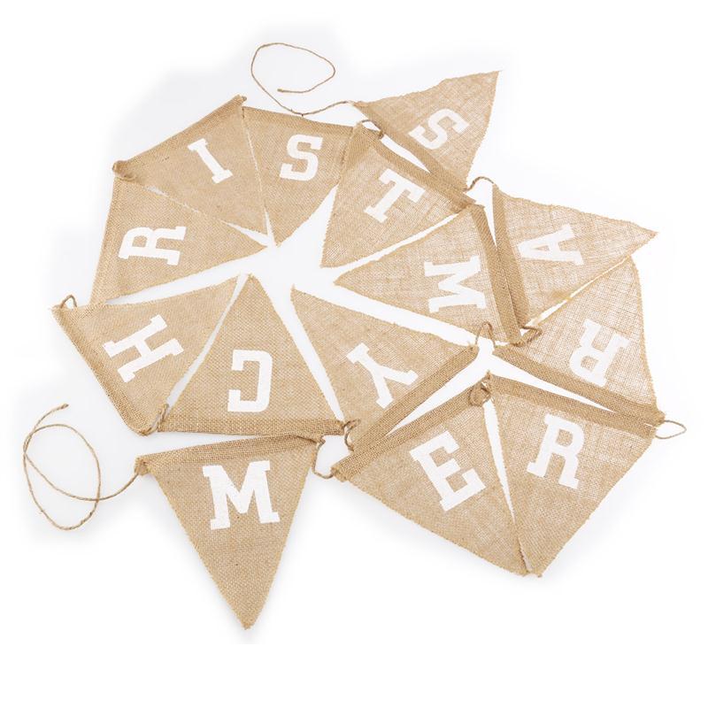 Arpillera de lino rústico letra feliz navidad 14 navidad bandera banderas buntin