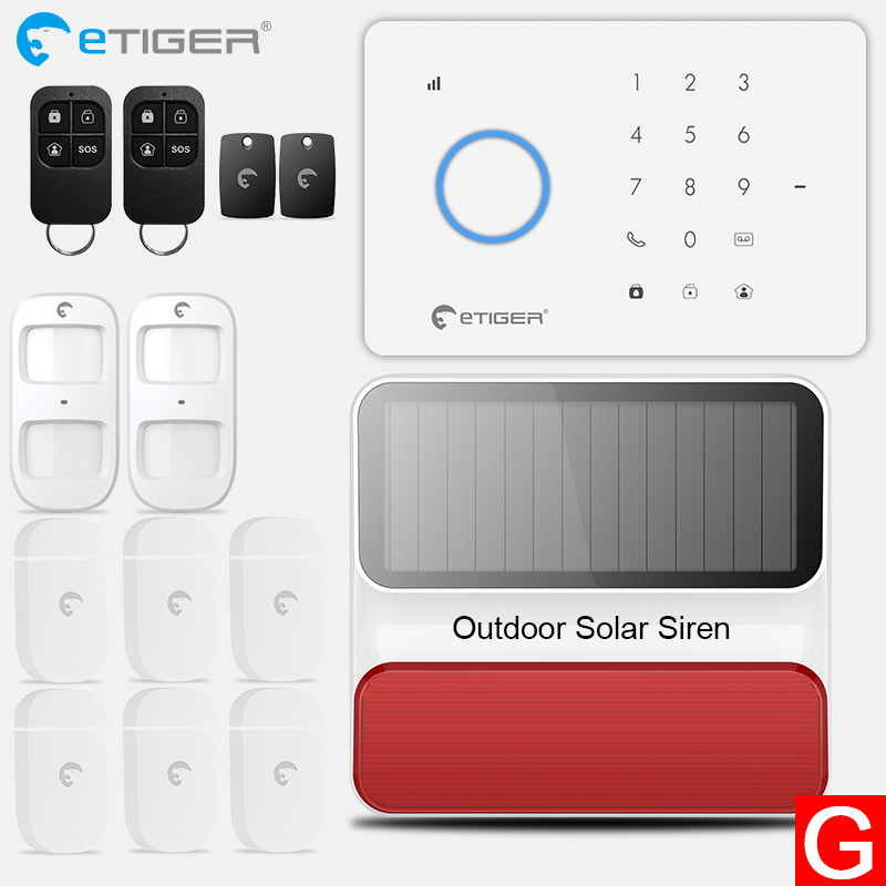 eTiger S3b GSM Alarm System home alarm Kit with PIR motion sensor Wireless Smoke Detector