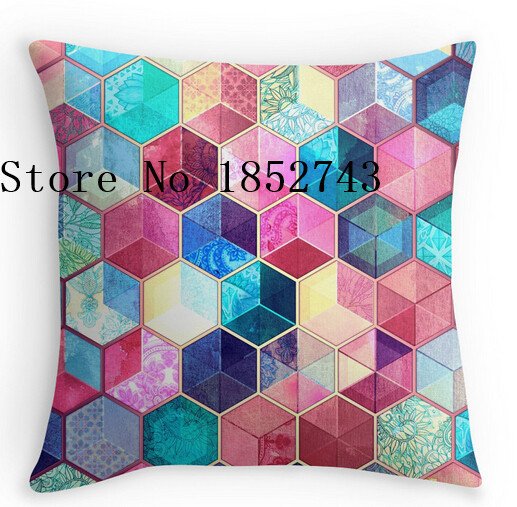 Pretty Cool Topaz Ruby Crystal Honeycomb Cubes Luxury Print Square Pillow Cases For12 14