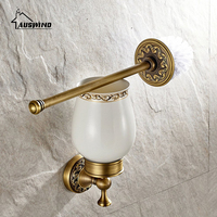 European Bathroom Accessories Antique Gold Solid Brass Toilet Brush Cup Holder Ti Pvd Carved Wall Mounted