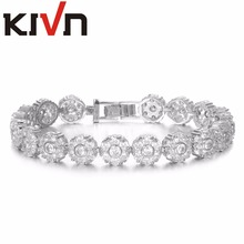KIVN Fashion Jewelry Flower CZ Cubic Zirconia Bridal Wedding Bracelets for Womens Christmas Birthday Girls Mothers Day Gifts