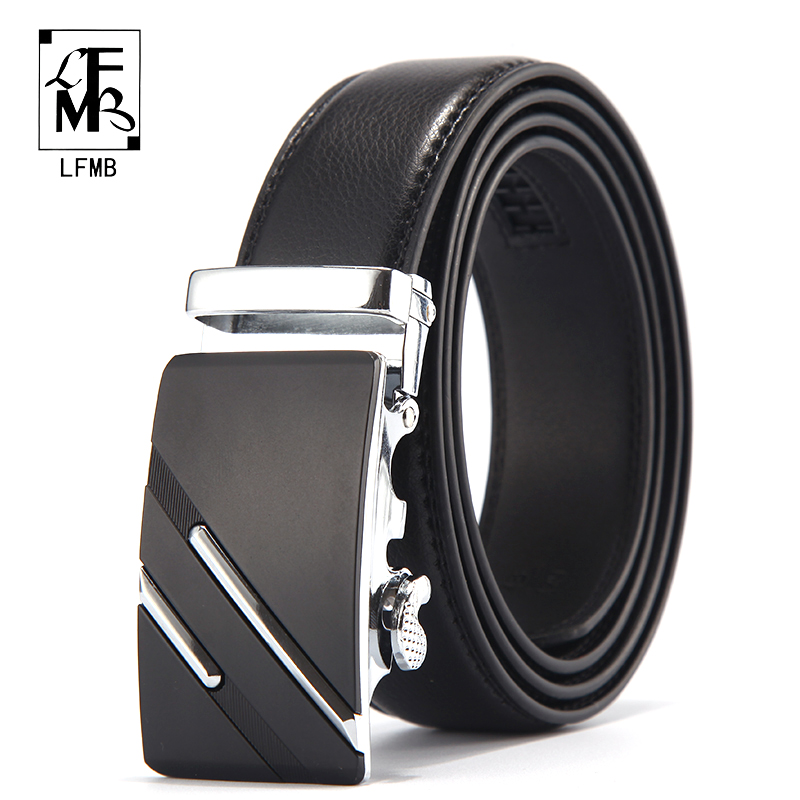 LFMB Genuine Luxury Leather Belts for Men Strap Male Metal Automatic Buckle