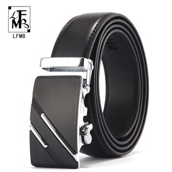 [LFMB] pasek znanej marki mężczyźni Top Quality luksusowa prawdziwa skóra paski dla mężczyzn pasek męski metalowa klamra automatyczna tanie i dobre opinie Dla dorosłych Cowskin CN (pochodzenie) 3 5cm Formalne Stałe 14121 Pasy men belt male genuine leather strap Belts Cummerbunds