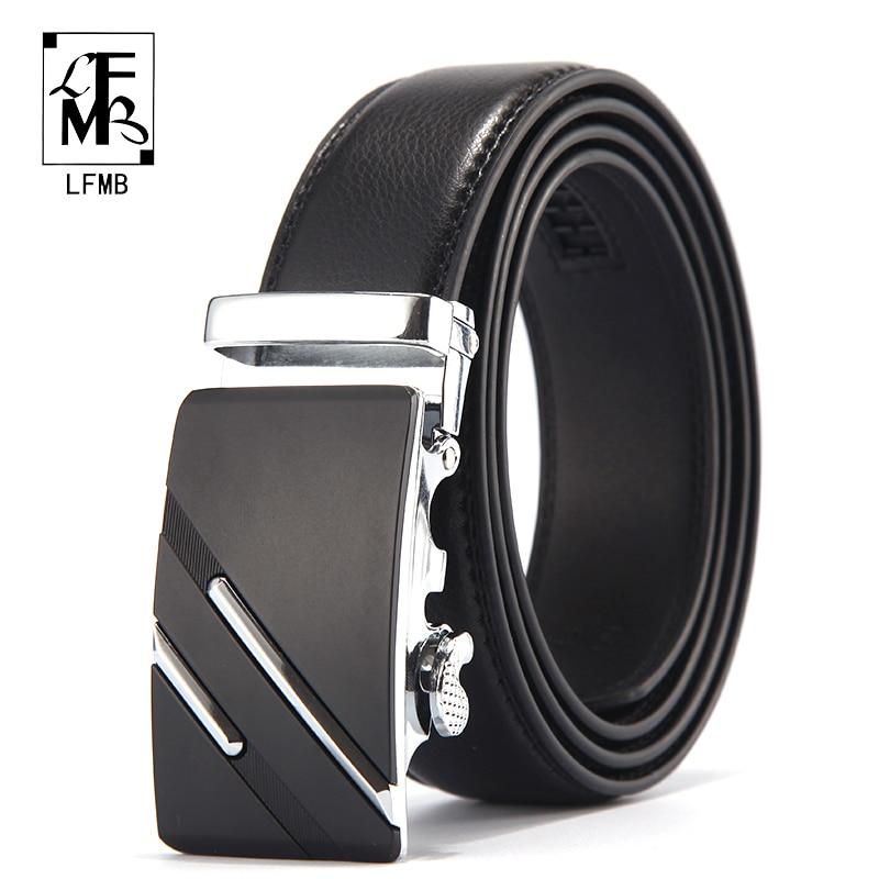 [LFMB] cinturón de marca famosa hombres de lujo genuino cinturones de cuero para hombres, correa de Metal masculino hebilla automática