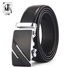 [LFMB] cinturón de marca famosa hombres cinturones de cuero de lujo genuino de alta calidad para hombres, Correa hebilla automática de Metal Masculino