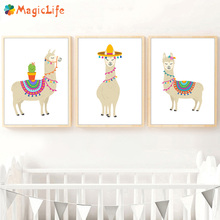 Cartoon Llama Cactus Nursery Decor Wall Art Canvas Painting Nordic Poster Pictures For Baby Kids Room Unframed