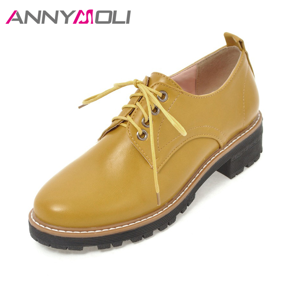 ANNYMOLI Women Shoes Flats Lace Up Sewing Casual Derby Shoes Spring 2018 Round Toe Ladies Shoes Yellow Autumn Big Size 9 42 43 annymoli women flat platform shoes creepers real rabbit fur warm loafers ladies causal flats 2018 spring black gray size 9 42 43