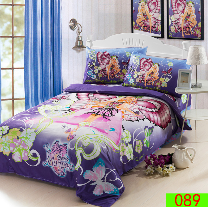 Cartoon Butterfly Girl Twin Single Bed Cotton 3pcs Bedding