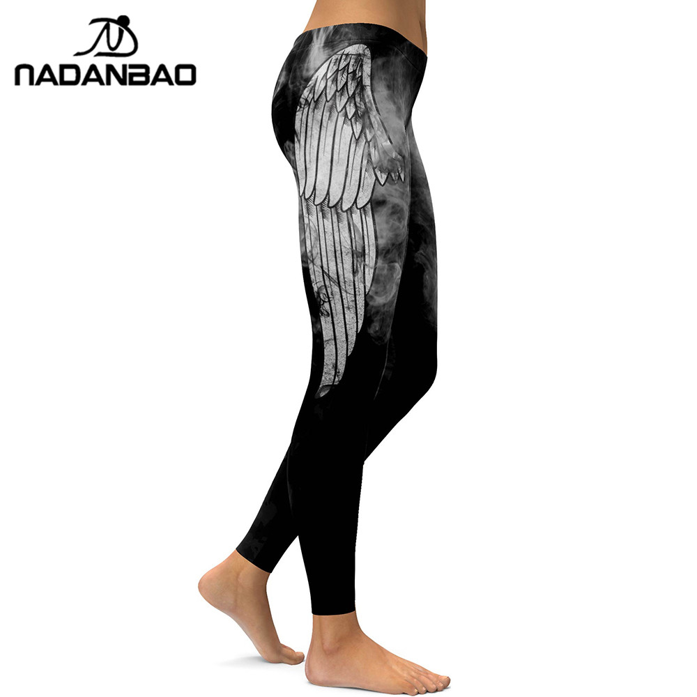 NADANBAO New Angel Devil Wings   Leggings   Women 3D Printed White Angel Devil Wings Fitness Leggins Mujer Pants Elastic Trousers