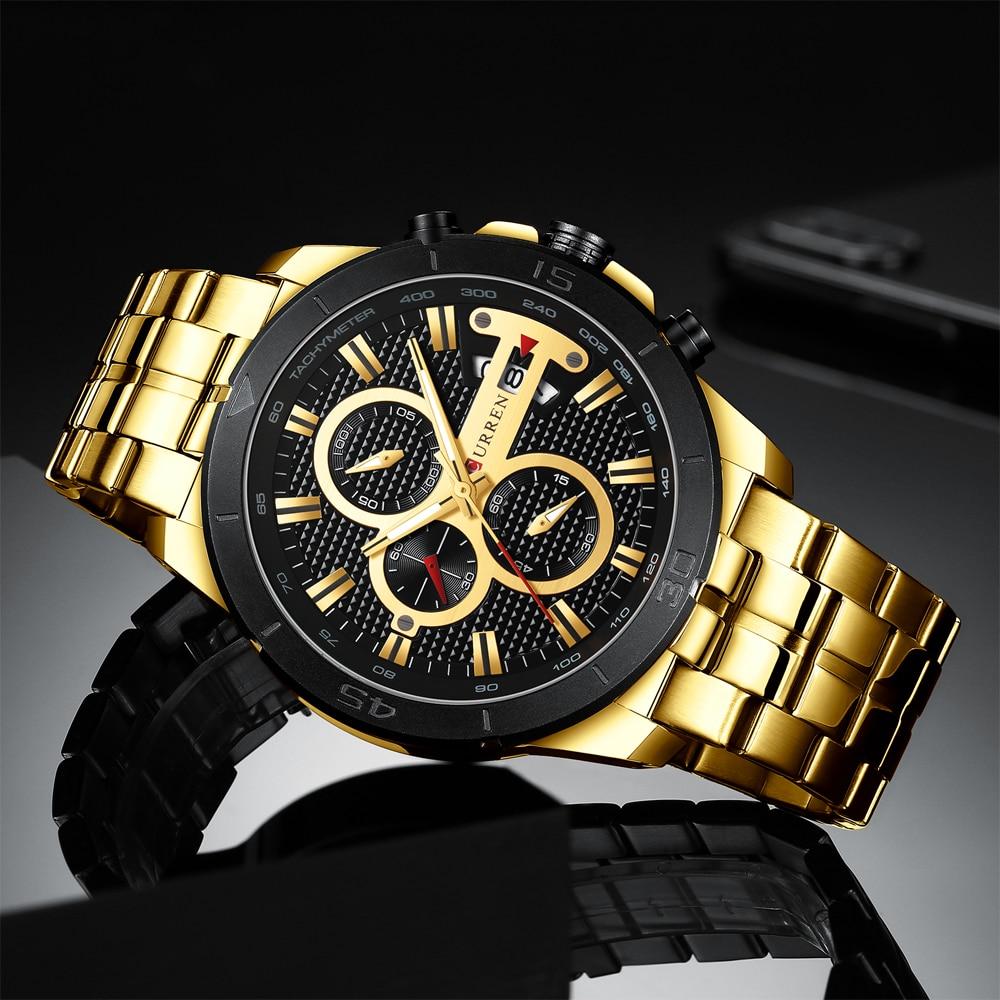 Image 3 - CURREN Элитный бренд Нержавеющаясталь спортивные часы Для мужчин Новый хронограф Наручные часы модные Повседневное Дата кварцевые часы Для мужчин s часыКварцевые часы   -