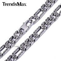 Трендсмакс на заказ Любая длина 10 мм тяжелая Фигаро кожа животных Мужская цепочка для мальчиков ожерелье серебристый оттенок 316L нержавеюща...