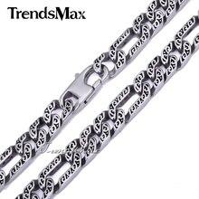 Trendsmax özel herhangi bir uzunluk 10mm ağır Figaro hayvan cilt erkek zincir Boys kolye gümüş renk ton 316L paslanmaz çelik HN34