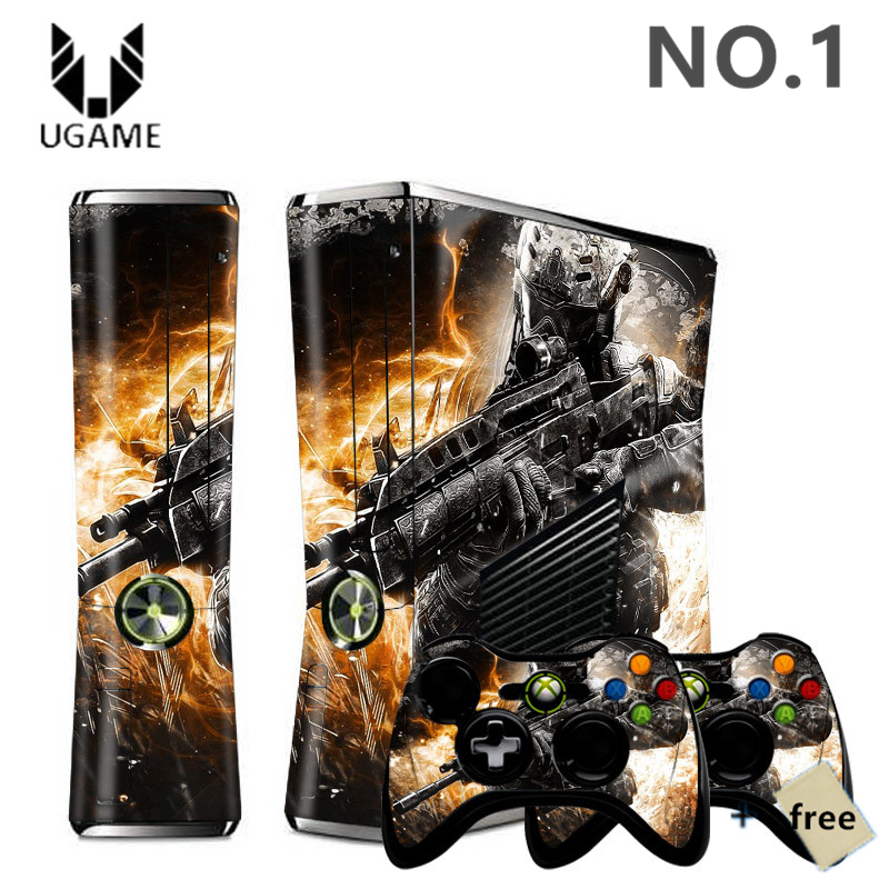 HOT Game Cool Black Call Of Duty Pattern Waterproof Skin Sticker For Microsoft Xbox 360 Slim + 2 Controller Skins Many Design