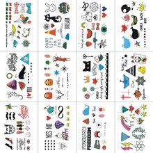TCOOL 12 STÜCKE Cartoon Temporäre Tattoo Aufkleber für Kinder Mode Body Art Kinder Wasserdichte Hand Gefälschte Tatoo 10,5X6 cm W12-17