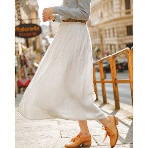 Image 2 - INMAN весенне осенняя однотонная богемная юбка трапециевидной формы с эластичной талией