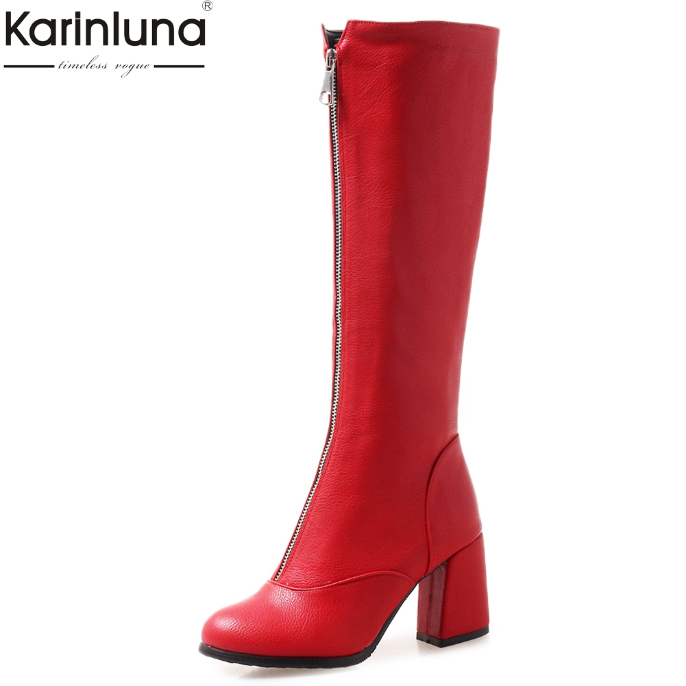 Karinluna Large Size 32-46 Zip Up Hoof high Heels Boots Woman Shoes Wholesale Hot Sale Shoes Woman winter Boots karinluna large size 33 45 hot sale add fur winter boots woman shoes wholesale ankle boots thin high heels party shoes woman