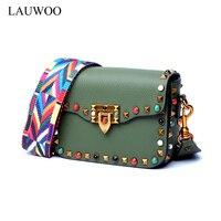 LAUWOO New Women Vintage Lock Shoulder Bag Vouge Wide Shoulder Strap Rivet Flap Bag Women Casual