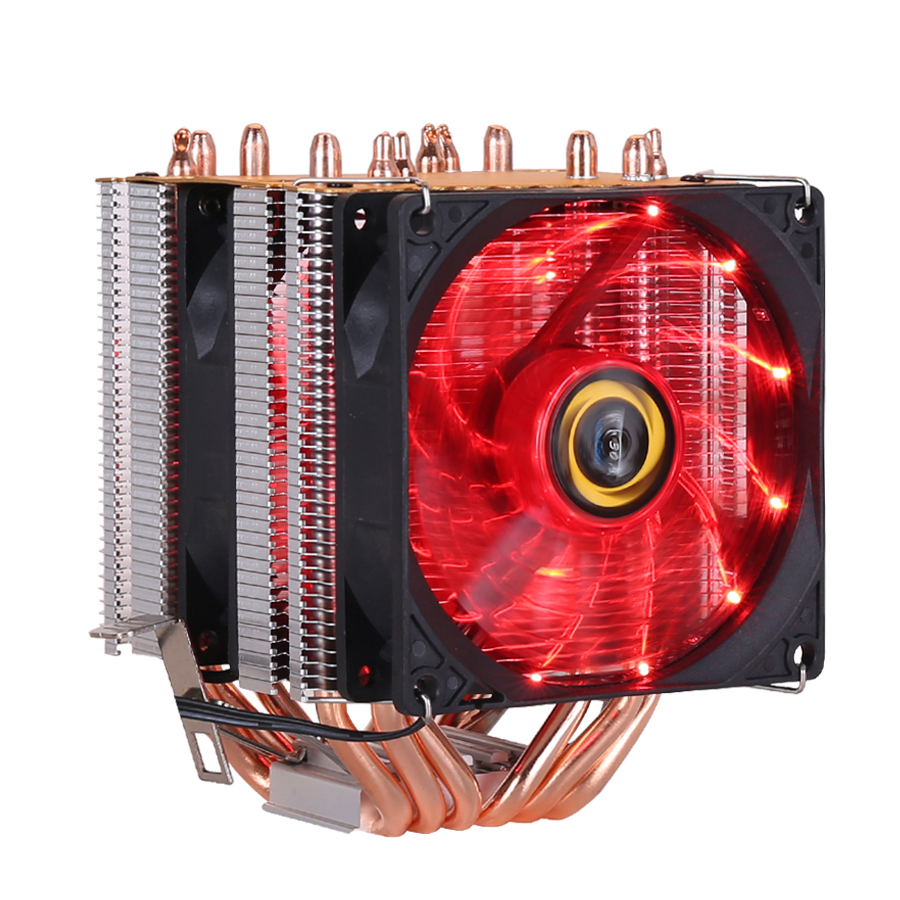 Image 2 - CPU cooler High quality 6 heat pipes dual tower cooling 9cm RGB fan support 3 fans 3PIN CPU Fan for Intel and For AMD-in Fans & Cooling from Computer & Office