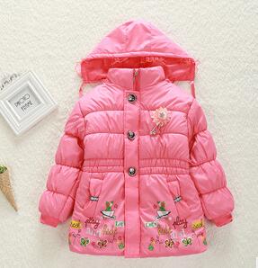 2106 novo arrvial Menina das crianças jaqueta casaco de inverno quente de manga longa de algodão-acolchoado roupas 3-8 T