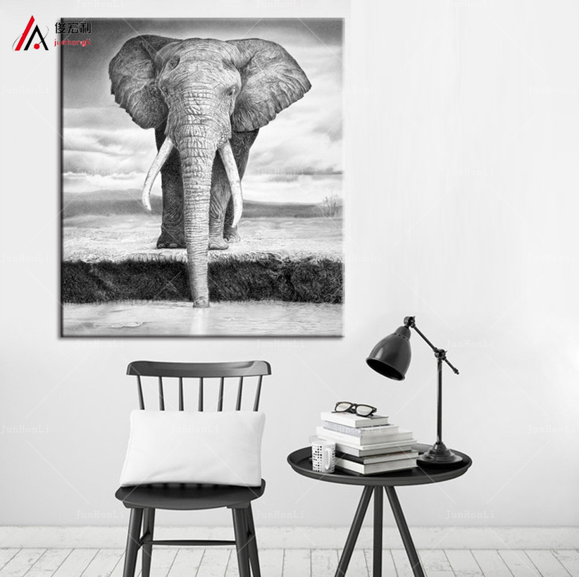 HD Printed African elephant picture painting canvas art frame 1 panels animal landscape wall decor for room home Print poster