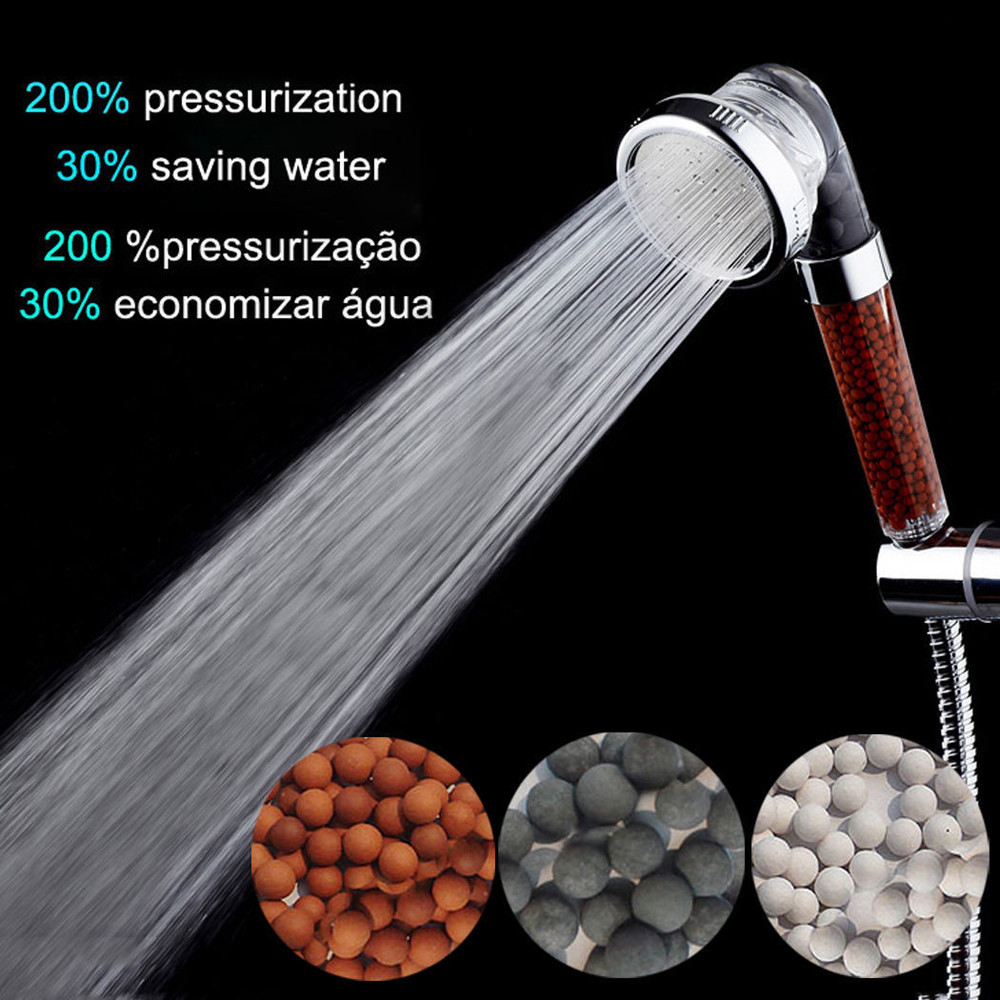 Image 4 - Bath High Quality Shower Head High Pressure Boosting Water Saving Filter Balls Beads Utility Head With Negative Ion Activated-in Shower Heads from Home Improvement