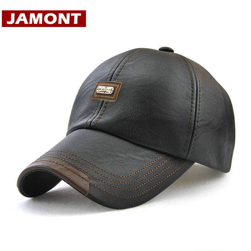 [JAMONT] Men Baseball Cap Winter Snapback Hat PU Leather Warm Hats Male Fashion Caps Casquette winter genuine leather baseball caps men golf peaked dome hats male adjustable ear warm casquette leisure peaked cap b 7209