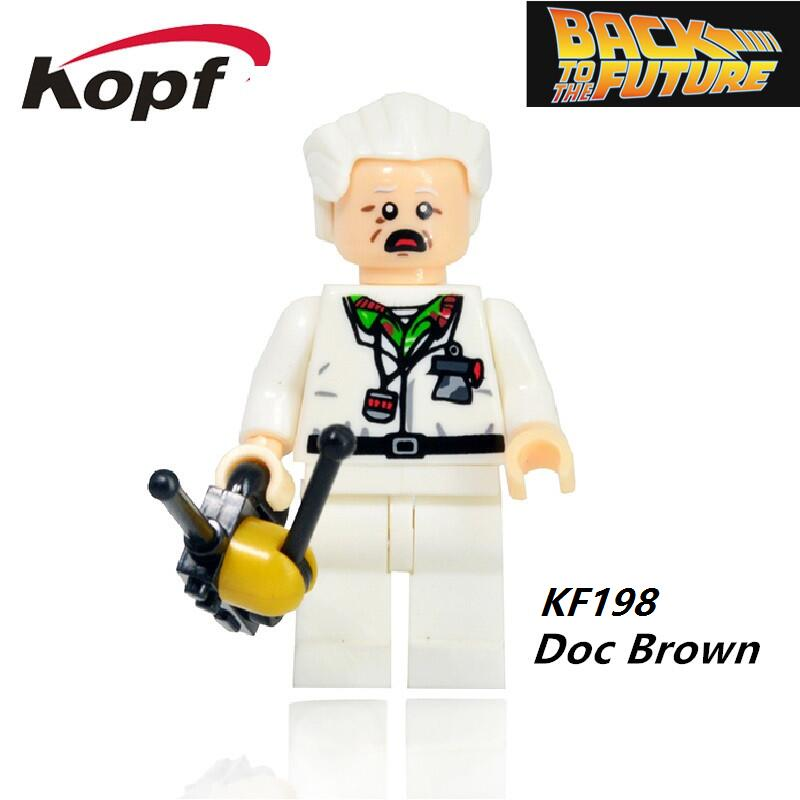 Single Sale Super Heroes Back to the Future Figures Doc Brown Marty McFly Set 21103 Building Blocks Children Gift Toys KF198