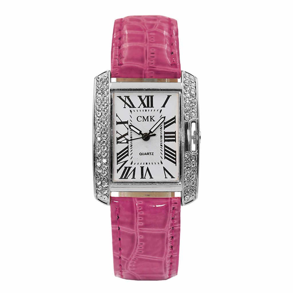 גבירותיי מעצב שעונים יוקרה שעון נשים relogio feminino עור חגורת אנלוגי קוורץ כיכר קוריאני ריינסטון שעון נקבה #50