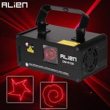 Красный лазерный сценический прожектор ALIEN с дистанционным управлением, 100 мВт, DMX 512, сканер для диджея, дискотеки, вечеринки, бара, танцевального клуба, праздника, Рождества