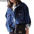 Otoño remiendo de las mujeres de manga corta vaqueros lavados de mezclilla femenina prendas de vestir exteriores azul bolsillos chaquetas abrigos elegantes loose clothing s243