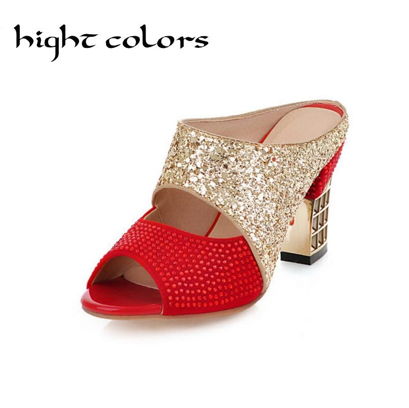 Female High-Heeled Slippers Thick Heel Sandals Fashion String Beaded Open Toe Shoes Summer Party Slides 2017 Black+Red US 10.5