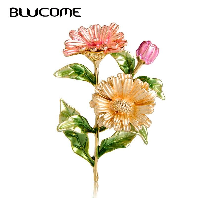 Blucome hermoso Rosa crisantemo flor broches pines esmalte Color dorado corsajes Pin fiesta vestido traje Clips adorno joyería