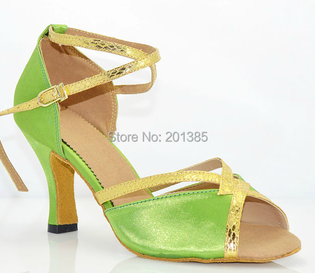 New Green Satin Ballroom Dance Shoes Latin Ballroom Shoes Salsa Dance Shoes Tango Dance Sandals Bachata Dance Shoes