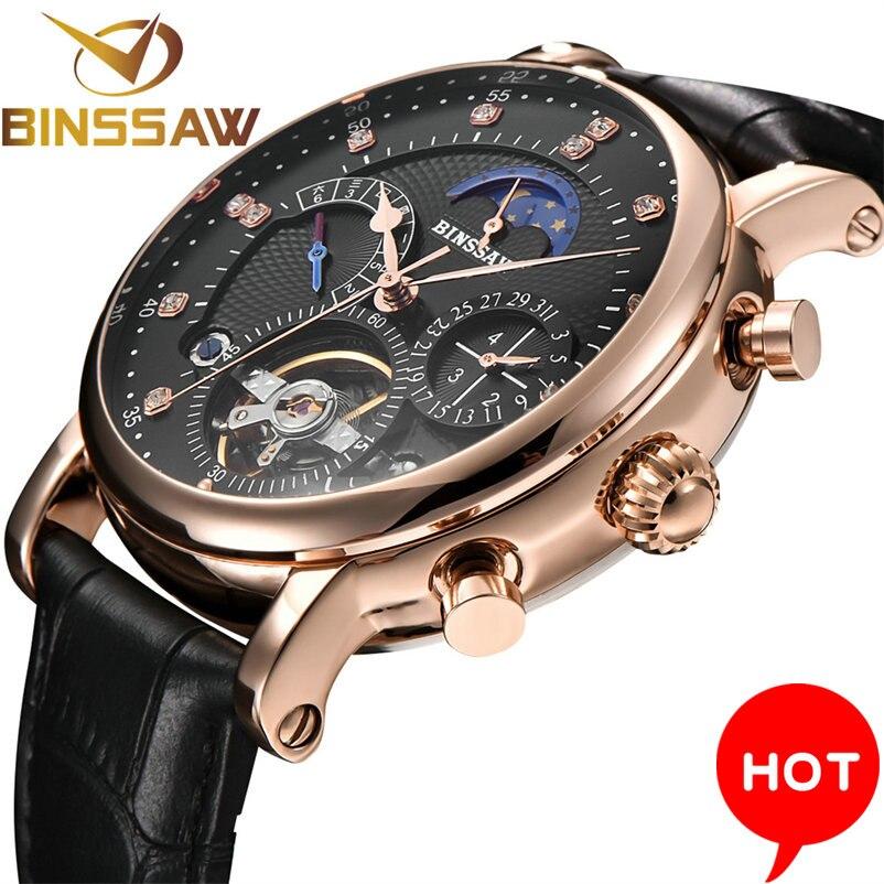 Men Automatic Mechanical Watch Tourbillon Luxury Brand Men Fashion Genuine Leather Man Multifunctional Watchse relogio masculino