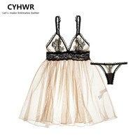 Yaz yeni varış suda çözünür nakış dantel perspektifsiz moda seksi sütyen thongs ile elbise