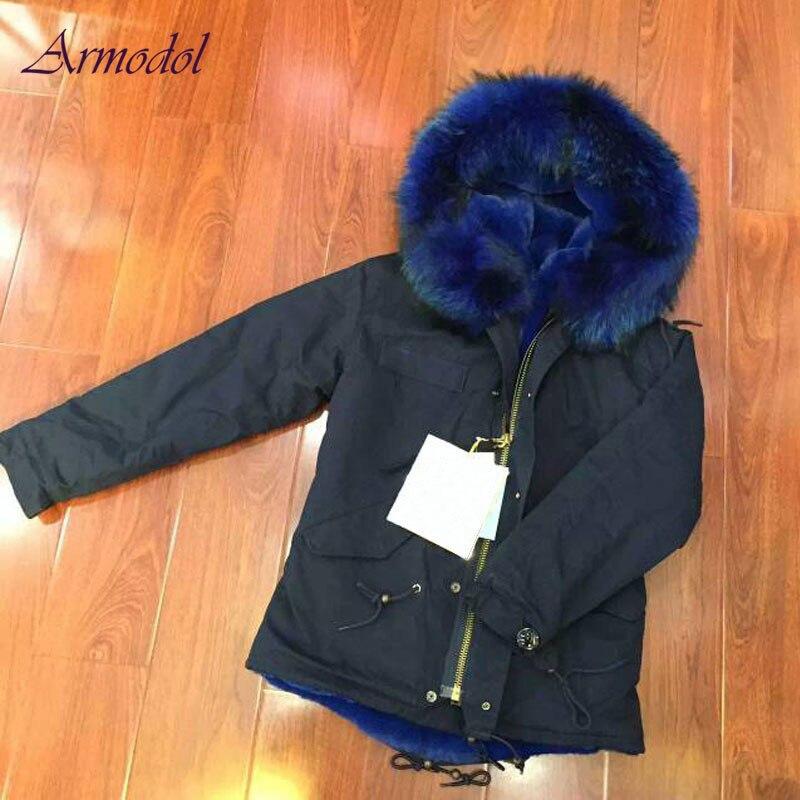 New Fashion Man jacket black parka with blue Faux fur lining winter coat