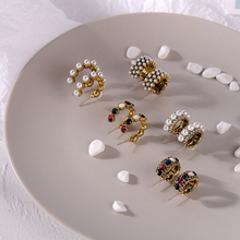 2019 Hot gold Sale Vintage Colorful Rhinestone Small Hoop Earrings For Women Fashion Simulated Pearl Semicircle Pendientes gift