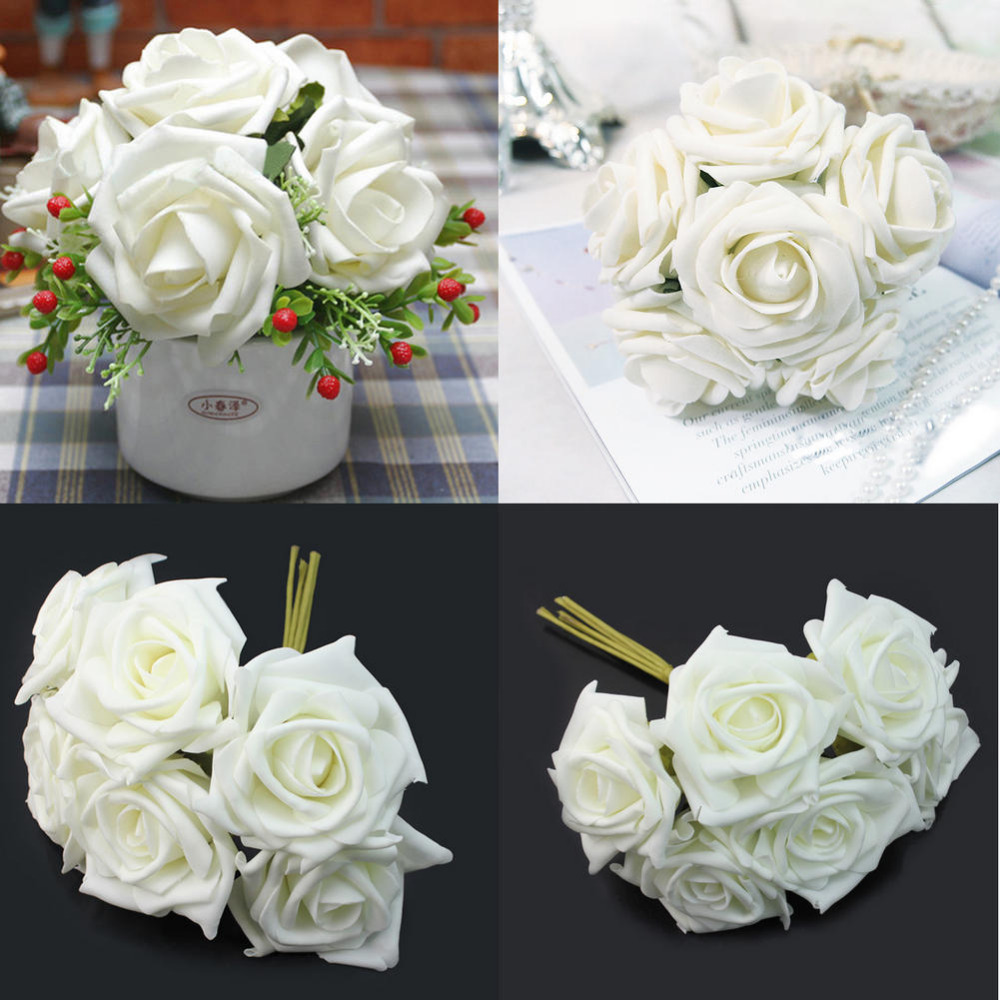 1 Bunch 6pcs Artificial Foam Ivory White Roses Flower Home Wedding