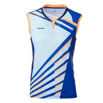 Kawasaki oddychająca koszulka do badmintona koszulki tenisowe męskie ubrania koszulka sportowa szybkoschnący dekolt bez rękawów dla mężczyzn ST-T1014 tanie i dobre opinie V-neck Poliester Oddychające Pasuje prawda na wymiar weź swój normalny rozmiar Blue Gray 100 Polyester Tennis