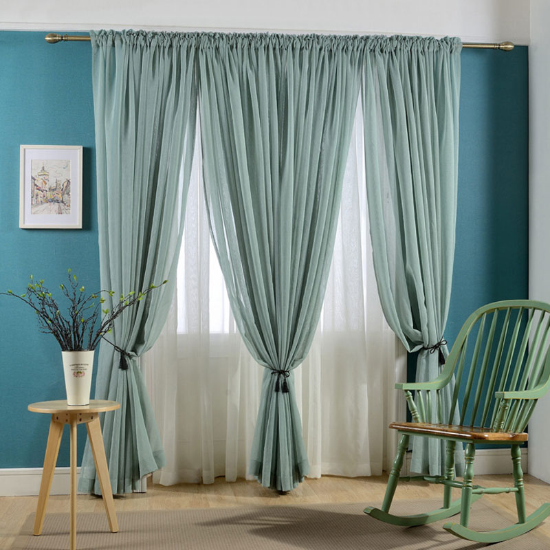 Faux Linen Voile Curtain Solid color Sheer Curtains Rod