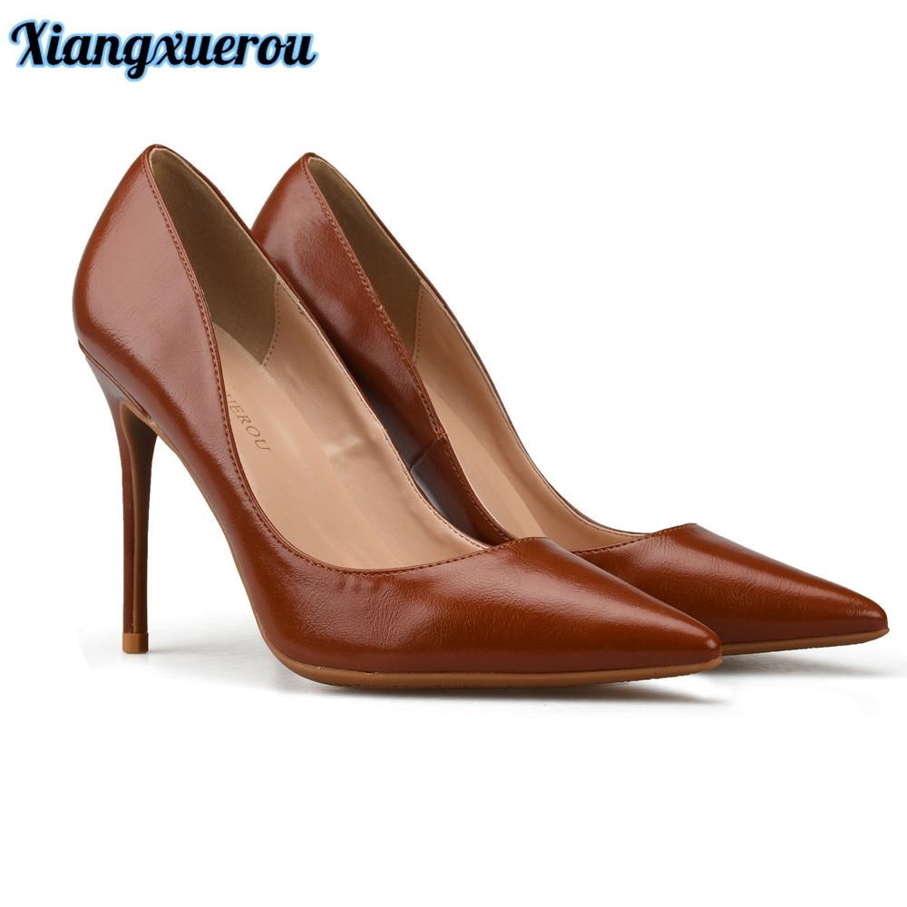 Xiangxuerou csúcsminőségű matt bőr, barna színű magas sarkú - Női cipő