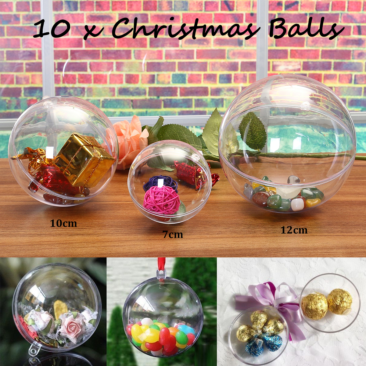 Oval Egg Shape Glass Ball Clear Bauble Candy Box Christmas Wedding Baubles