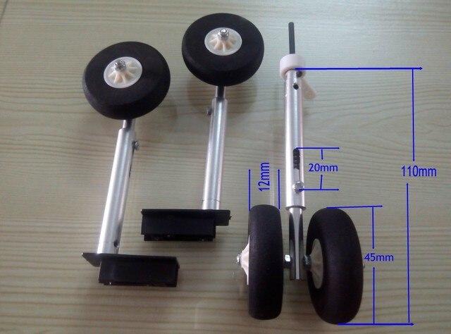 € 8 1 |RC Avión de aleación de tren de aterrizaje CNC proceso de choque de  Metal ensamblaje de engranajes anding con montura 45mm rueda de esponja en