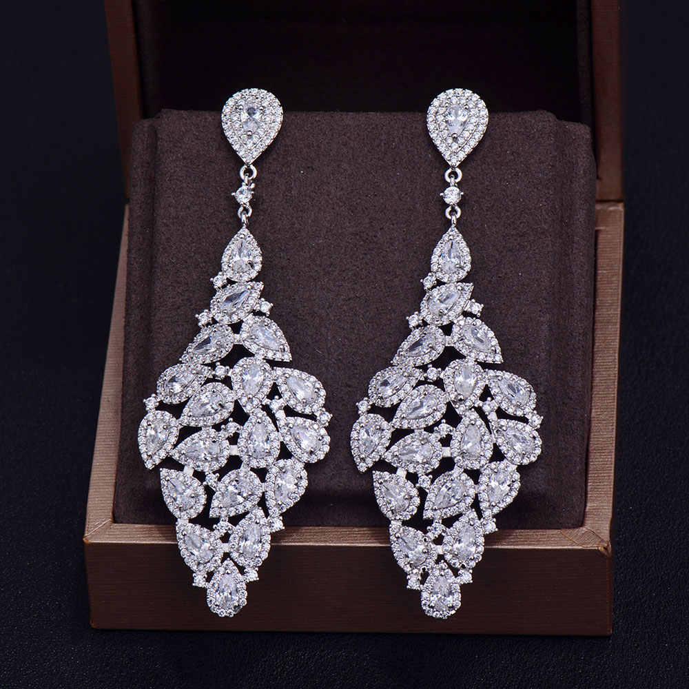 GODKI nouvelle marque de luxe de mode de luxe poire coupe cubique zircone robe d'anniversaire fête boucles d'oreilles de mariée