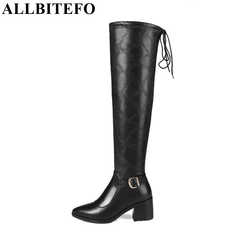 ALLBITEFO new winter fashion buckle Snake texture over the knee boots genuine leather+pu thick heel winter sonw boots size:33-44 simplicity buckle and pu leather design women s over the knee boots