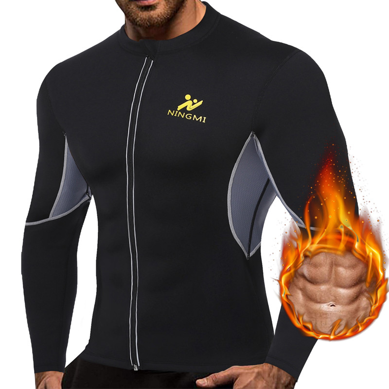NINGMI Men Slimming Vest HOT Shirts Jacket With Long Sleeve Fitness Tights Weight Loss Neoprene Sauna Waist Trainer Body Shapers