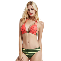 Swimsuit Women Bikini 2017 Retro Ethnic Printed Strappy Bikini Set Sexy Bandage Biquini Padded Bra Bathing