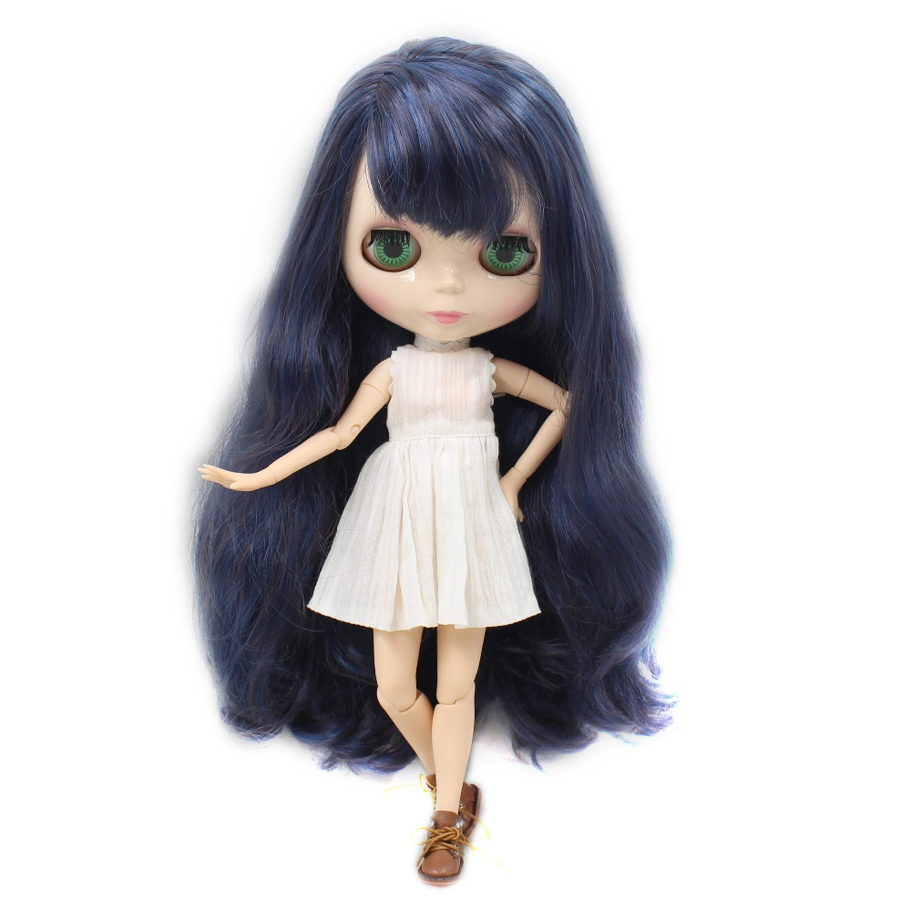 factory blyth doll bjd neo black mix dark purple hair free shipping 280BL6221/9219 1/6 30cm gift toy side parting with bangs adiors long middle parting shaggy wavy color mix synthetic party wig